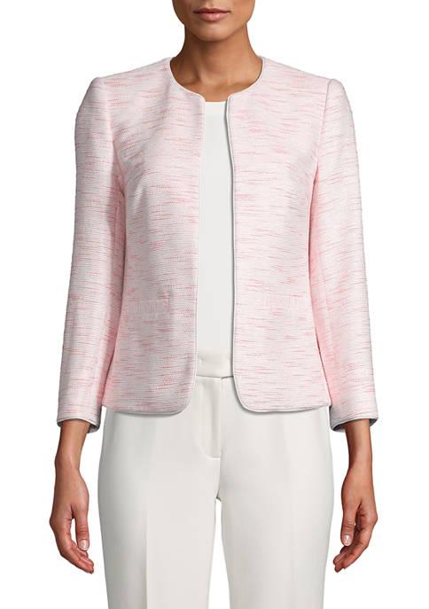 Anne Klein Womens Tweed Open Front Jacket