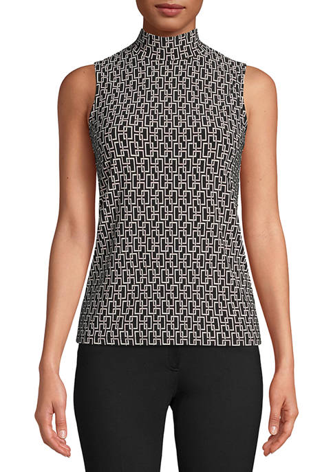 Anne Klein Womens Sleeveless Mock Knit Top
