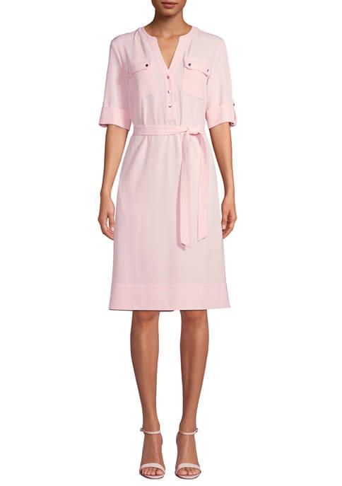Anne Klein Womens Long Sleeve Belted Shirt Dress