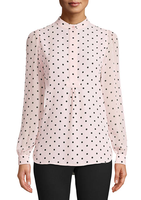Anne Klein Womens Long Partitioned Poet Blouse