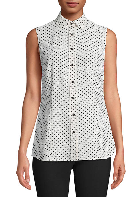 Anne Klein Womens Sleeveless Crepe de Chine Dot