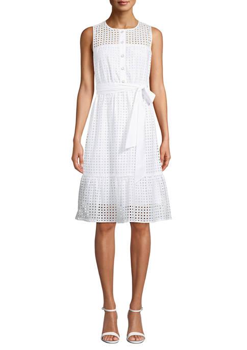 Anne Klein Womens Sleeveless Cotton Eyelet Dress