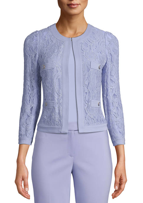 Anne Klein Womens Framed Lace Jacket