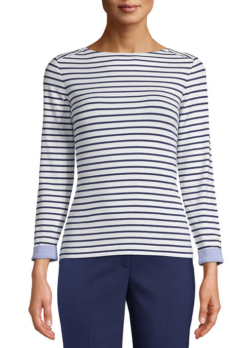 Anne Klein Womens Stripe Top with Cuffs