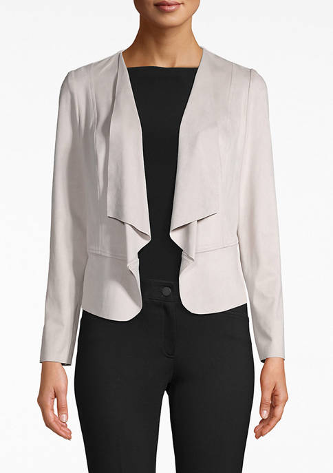 Anne Klein Womens Suede Drop Front Jacket