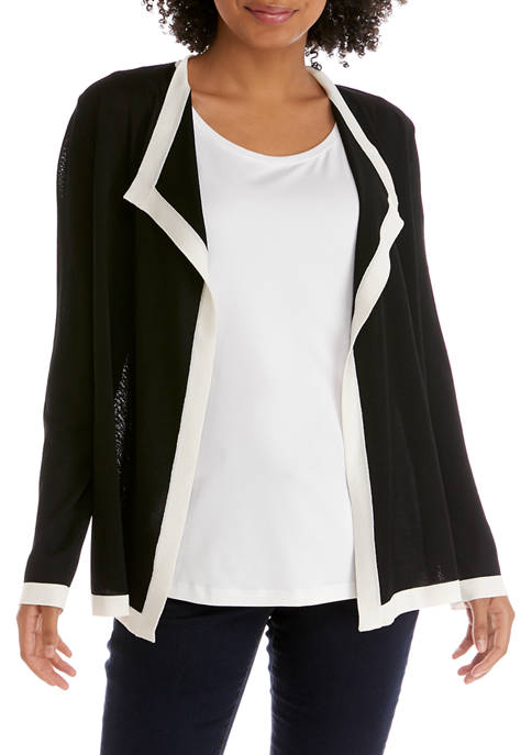 Anne Klein Womens Color Block Drapey Open Cardigan