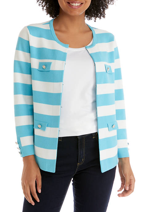 Anne Klein Womens Flap Pocket Stripe Cardigan