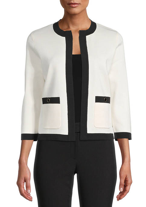 Anne Klein Womens Color Block Pocket Cardigan