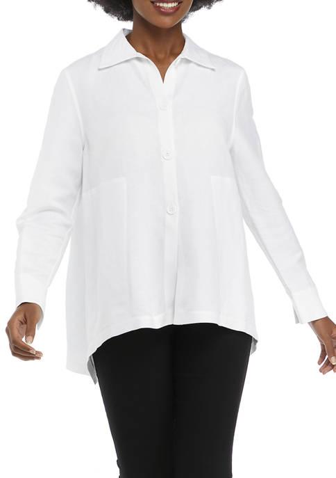 Anne Klein Womens Long Sleeve Button Up Linen