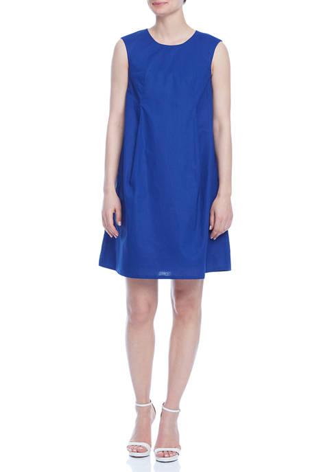 Anne Klein Womens Sleeveless Linen Trapeze Dress