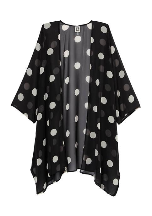 Anne Klein Womens Oversized Dot Sheer Cardigan