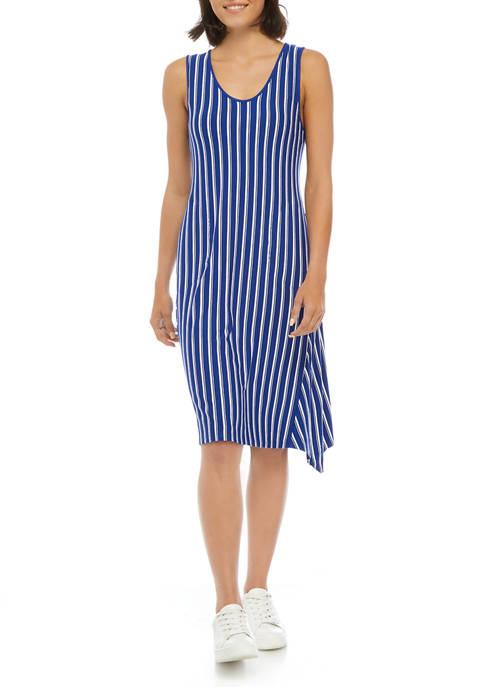 Anne Klein Womens Sleeveless Striped U-Neck Dress