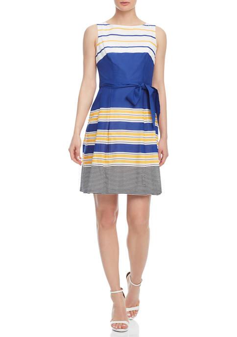 Anne Klein Womens Sleeveless Voile Cotton Multi-Stripe Dress