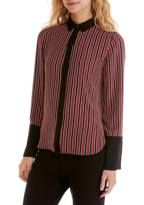 Anne Klein Womens Carlyle Striped Collar Shirt