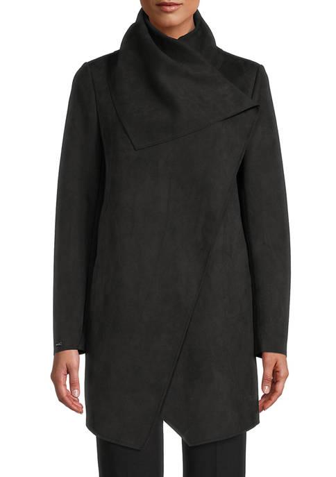 Anne Klein Womens Scuba Faux Suede Asymmetric Jacket