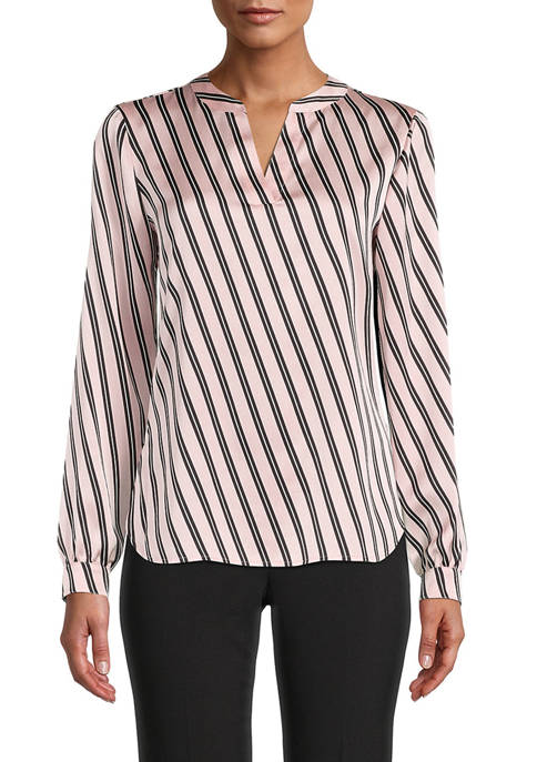 Anne Klein Womens Long Sleeve Double Bias Stripe