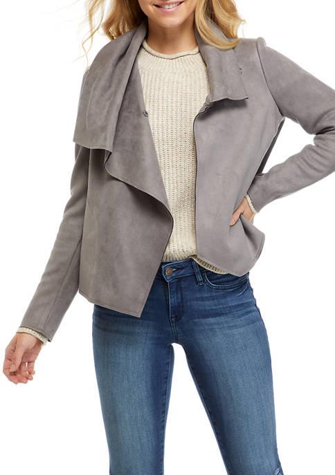 Anne Klein Womens Faux Suede Asymmetric Jacket