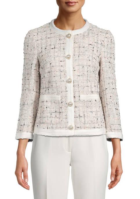 Anne Klein Womens Collarless Tweed Trim Jacket