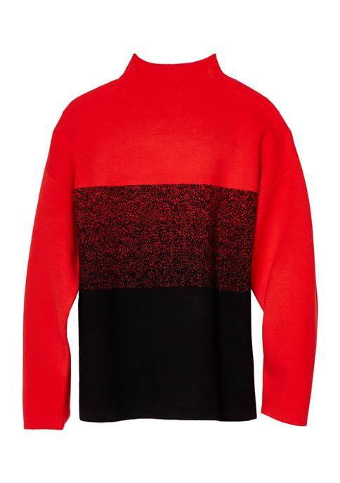 Anne Klein Womens Mock Neck Ombre Sweater