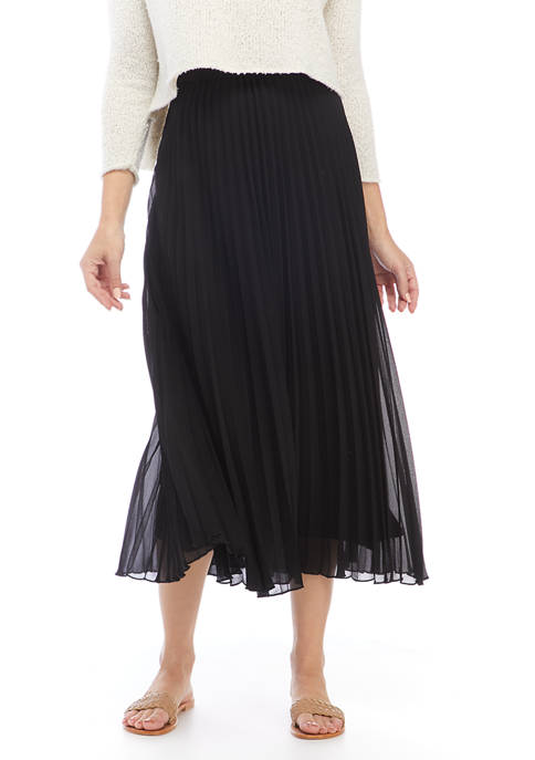 Anne Klein Womens Sunburst Pleat Maxi Skirt