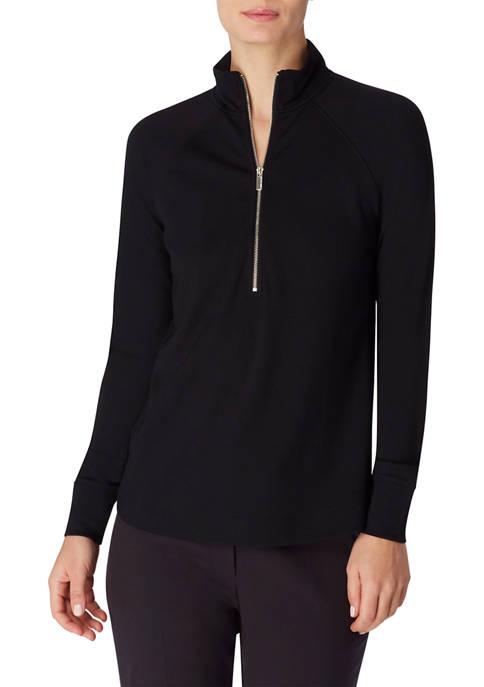 Anne Klein Womens Drapey Compression Half Zip Pullover