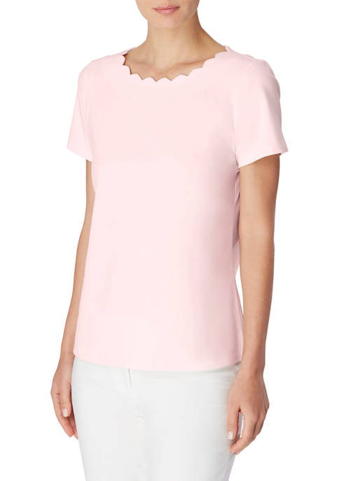 Anne Klein Womens Short Sleeve Scalloped Cotton Top