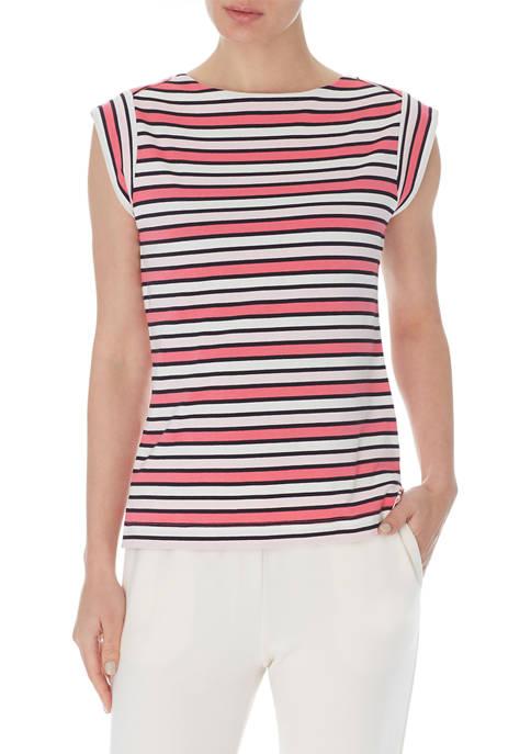 Anne Klein Womens Multi Stripe Cap Sleeve Knit
