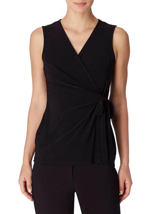 Anne Klein Womens Sleeveless Knit Wrap Top