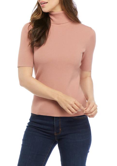 Anne Klein Womens Half Sleeve Turtleneck Sweater