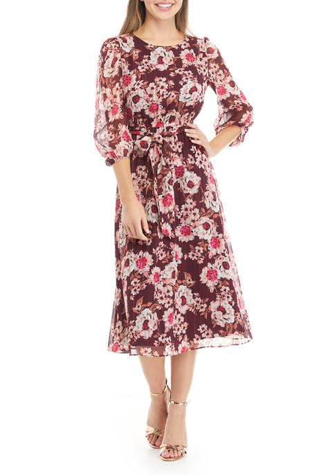 Anne Klein Womens 3/4 Blouson Sleeve Floral Midi