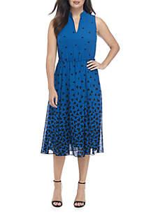 Printed Drawstring Midi Dress