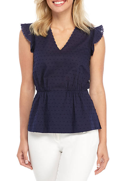 Anne Klein Flutter Sleeve Cinch Waist V Neck
