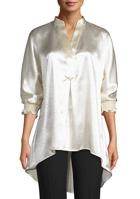 Anne Klein Womens Ruffle Cuff Tunic Blouse