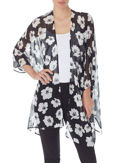 Anne Klein Womens Giverny Floral Sheer Cardigan