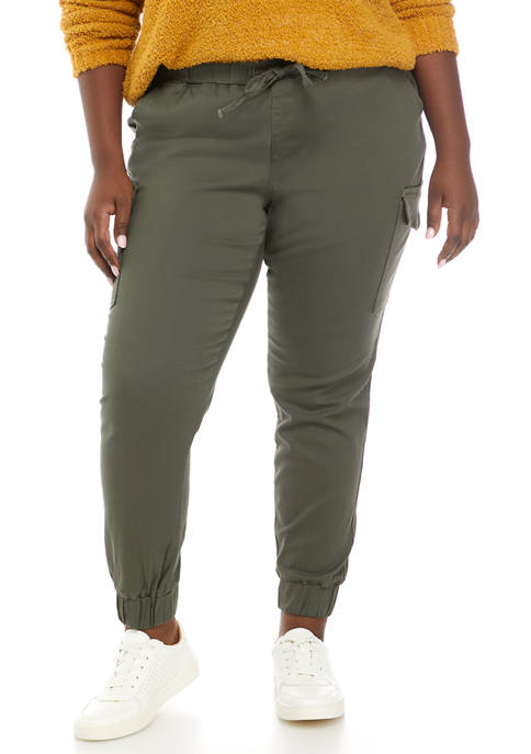 Almost Famous Plus Size Drawstring Cargo Joggers