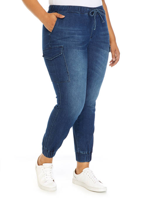 Almost Famous Plus Size Denim Wash Joggers