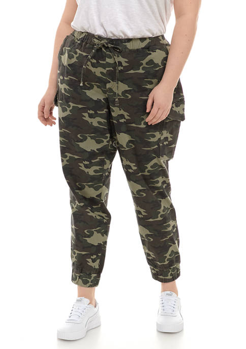 Almost Famous Plus Size Green Camouflage Joggers