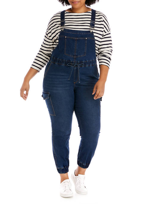 Almost Famous Plus Size Denim Jogger Overalls