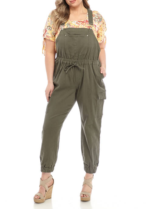 Almost Famous Plus Size Jogger Overalls