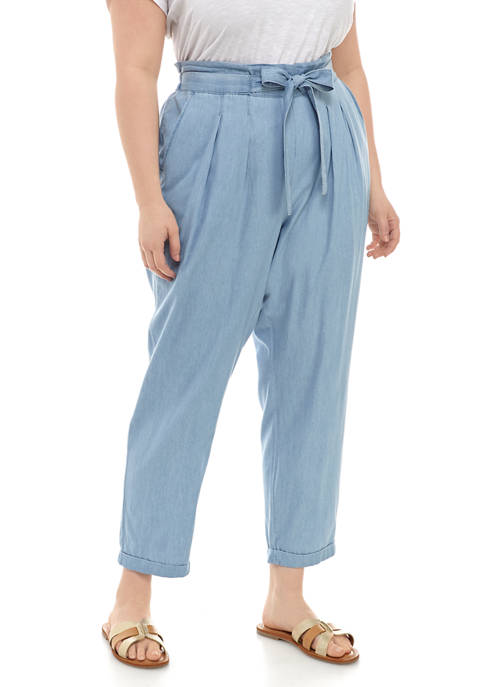 Almost Famous Plus Size Chambray Bow Pants