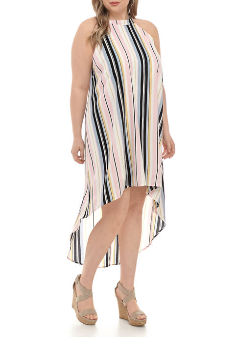 Almost Famous Plus Size Halter Neck High Low