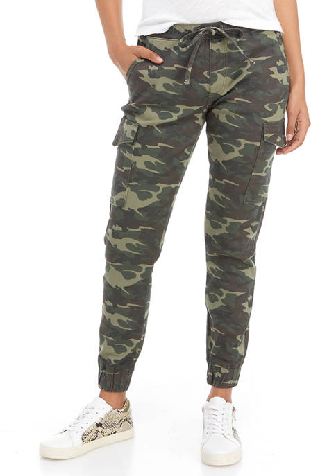 Almost Famous Juniors Light Green Camouflage Jogger Pants