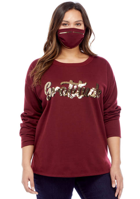 Almost Famous Plus Size Sequin Gratitude Pullover with