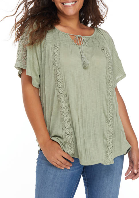 Almost Famous Plus Size Smocked Yoke Peasant Top