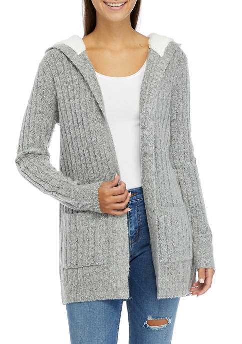 Almost Famous Juniors Mossy Cardigan with Sherpa Hood