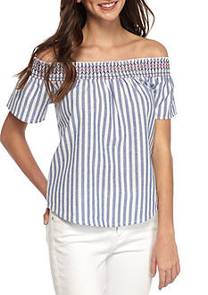 Almost Famous Off Shoulder Stripe Shirting with Colored Smocking Top