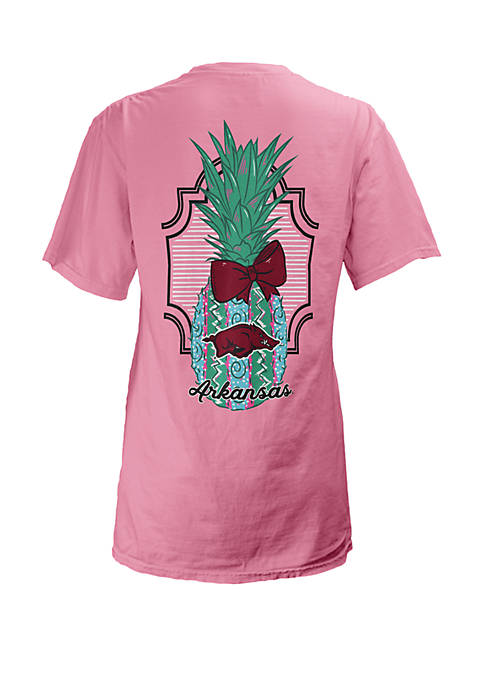 ROYCE Arkansas Razorbacks Maisie Coastal V Neck Tee