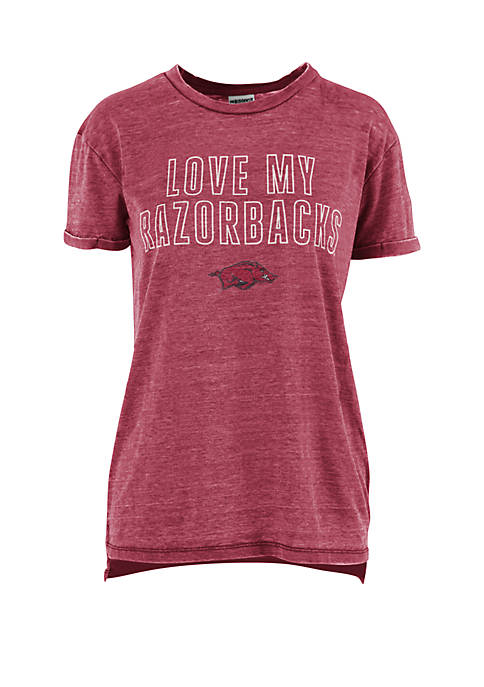 ROYCE Arkansas Razorbacks Love Lines Vintage Wash T
