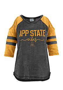 Appalachian State School Vibes Vintage Cold Shoulder Tee