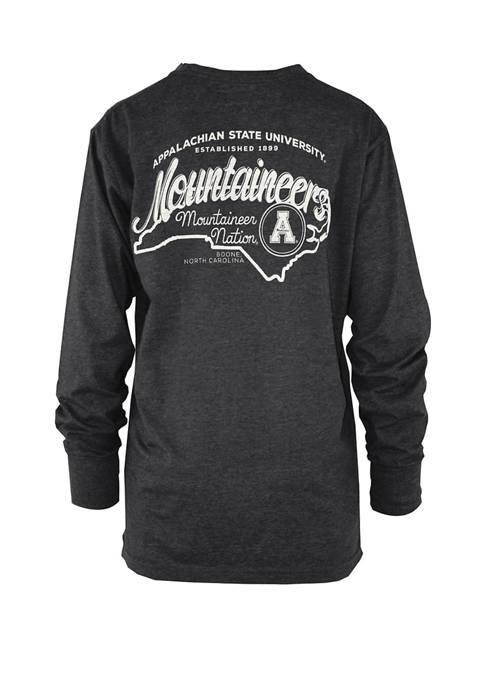 Womens NCAA Appalachian State Mountaineers Long Sleeve Melange Graphic T-Shirt